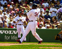 David Ortiz Boston Red Sox. Boston Red Sox slugger David Ortiz takes a mighty cut at the ball Stock Photography