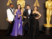 David Oyelowo, Joanna Natasegara, Orlando von Einsiede und Salma Hayek Lizenzfreie Stockfotos