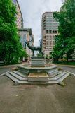 David P. Thompson Monument, or Elk Fountain, in downtown Portland, USA stock image