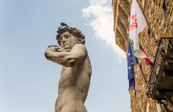 David and Palazzo Vecchio.  Piazza della Signoria. Florence Royalty Free Stock Photography