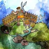 David pour aquarelle et Goliath illustration libre de droits