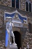 David przed museo palazzo vecchio w Florencja fotografia royalty free