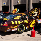 David Ragan. Crew members prepare the #6 UPS Ford, driven by David Ragan, for the NASCAR Sprint Cup Series Samsung 500, at the Texas Motor Speedway in Fort Worth Royalty Free Stock Photo
