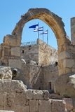 David's Citadel and israeli flag Stock Images
