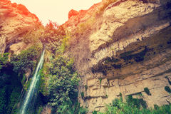David's waterfall in Ein Gedi. Nature Reserve Royalty Free Stock Images