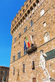 David sculpture in front of the Palazzo Vecchio in Florence, Italy Stock Photo