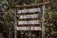 The David Sheldrick Wildlife Trust. Kenya - October, 01 2015:  sign in Kenya Royalty Free Stock Photography