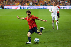 David Silva. MADRID - MAR. 28, 2009: Spain's David Silva crosses the ball during the second half of their 1-0 victory over Turkey in their World Cup Qualifier Royalty Free Stock Image