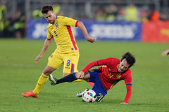 David Silva faulted. David Josue Jimenez Silva midfielder of the Spanish National Football Team, pictured during the friendly match between Romania and Spain Stock Images