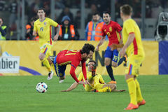 David Silva faulted. David Josue Jimenez Silva midfielder of the Spanish National Football Team, pictured during the friendly match between Romania and Spain Royalty Free Stock Images