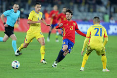 David Silva passing the ball. David Josue Jimenez Silva midfielder of the Spanish National Football Team, pictured during the friendly match between Romania and Stock Photos