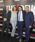 David Simon, Maggie Gyllenhaal, James Franco, et George Pelacanos Photographie stock