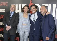 David Simon Maggie Gyllenhaal, James Franco, et George Pelecanos Images libres de droits
