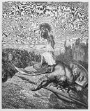 David slays Goliath. Picture from The Holy Scriptures, Old and New Testaments books collection published in 1885, Stuttgart-Germany. Drawings by Gustave Dore