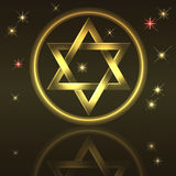 David star. Holiday background with gold David star Stock Image