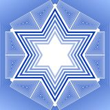 David star in blue and white design. Israel national symbol in outline design. Stock Photos