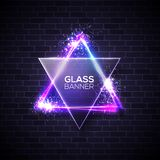 David star. Neon sign. Triangle with glass plate. Stock Images