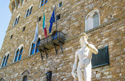David-Statue im Marktplatz Signoria in Florenz Stockfotos