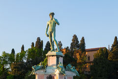 David Statue at Michelangelo Square in Giuseppe Poggi on hillsid Royalty Free Stock Image