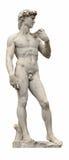 David staty av den forntida skulptören Michelangelo som isoleras på vit. Florence Italien. Arkivfoto