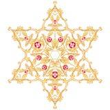 David-Stern mit mit Filigran geschmückten Verzierungen Lokalisiertes Juwel mit Rubin vektor abbildung