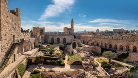 David tower in Jerusalem Old City. Panoramic view of David tower in the old city of Jerusalem, Israel stock photography