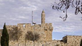 David tower and Jerusalems wall , Israel.Panoramic View Stock Photos