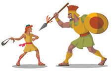 David und Goliath Stockbild