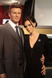 David and Victoria Beckham. Wax statues at Madame Tussauds in London stock photography
