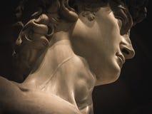 David vid detaljen för Michelangelo halsåder Royaltyfri Fotografi