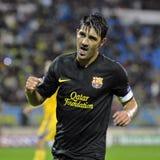 David Villa celebrates goal Stock Photo