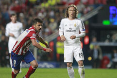 David Villa and Luka Modric Final Champion League 2014 Royalty Free Stock Image