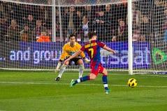 David Villa shooting a goal Stock Image