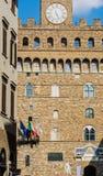 David y Palazzo Vecchio en Florencia fotografía de archivo
