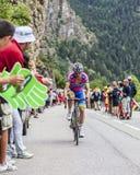 Davide Cimolai Climbing Alpe D'Huez. Alpe-D'Huez,France- July 18, 2013: The Italian cyclist Davide Cimolai from  Lampre-Merida Team climbing the difficult road Royalty Free Stock Image