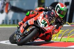 Davide Giugliano Ducati Panigale R Aruba det Racing-Ducati Superbike Team Imola SBK 2015 Royaltyfria Bilder