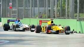 Davide Valsecchi racing in Singapore GP2 2012 Stock Images