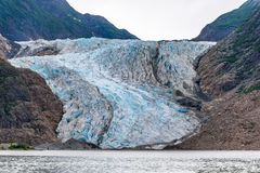 Davidson Glacier Ice pack. On a cloudy day in summer stock image