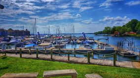 Davidson Marina on Lake Norman in Davidson, NC on a Beautiful Summer Day. Davidson Marina on Lake Norman in Davidson, NC is a beautiful marina tucked neatly into royalty free stock photography