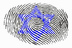 Davidsstern auf einem Fingerabdruck auf einem weißen Hintergrund stock abbildung