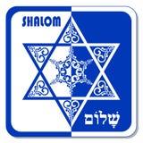 Davidsstern Dekorationsfliese mit geometrischer Weinleseeibenverzierung im blauen und weißen Design, Vektor eps10 Religiöses Moti Stockfotos