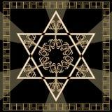 Davidsstern Dekorationsfliese mit geometrischer Weinleseeibenverzierung im Golddesign Nationales Sonderzeichen Israels magen davi Lizenzfreie Stockfotografie