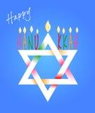 Davidsstjärna och menoror för Chanukkah Arkivbild