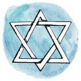 Davidsstjärna vattenfärgcirkelfärgstänk israel Royaltyfria Foton