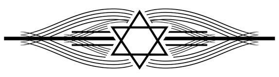 Davidsstjärnatatuering på en svart elegant garnering vektor illustrationer