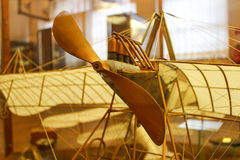 DaVinci& x27;s airplane model. Wooden airplane model built by DaVinci& x27;s drawings Royalty Free Stock Photography
