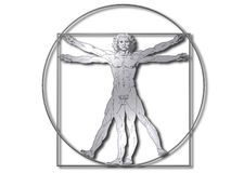 DaVinci Vitruvian. Man in shiny metal, isolated on white background. Jpg has the clipping path attached royalty free illustration