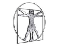 DaVinci Vitruvian man in shiny metal. Perspective view of Leonardo DaVinci Vitruvian man in shiny metal, isolated on white background. Jpg has the clipping path stock illustration
