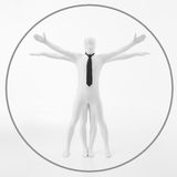 Davinci vitruvian white man. Faceless man dressed in white with black tie imitates the work of DaVinci vitruvian man royalty free stock images