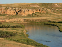 Davis Coulee and Milk River with Deer Royalty Free Stock Photo